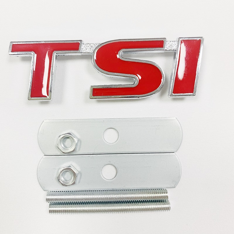 For TSI Logo 3D Car Styling Front <font><b>Stickers</b></font> Metal Grille Emblem Badge for VW Volkswagen T4 T5 <font><b>Golf</b></font> <font><b>4</b></font> 5 6 7 Passat b6 Polo Tiguan image