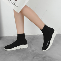 2019 New Women Sock Boots Round Toe Elastic High Top Slip On Platform Ankle Boots Winter Woman Keep Warm and Comfortable