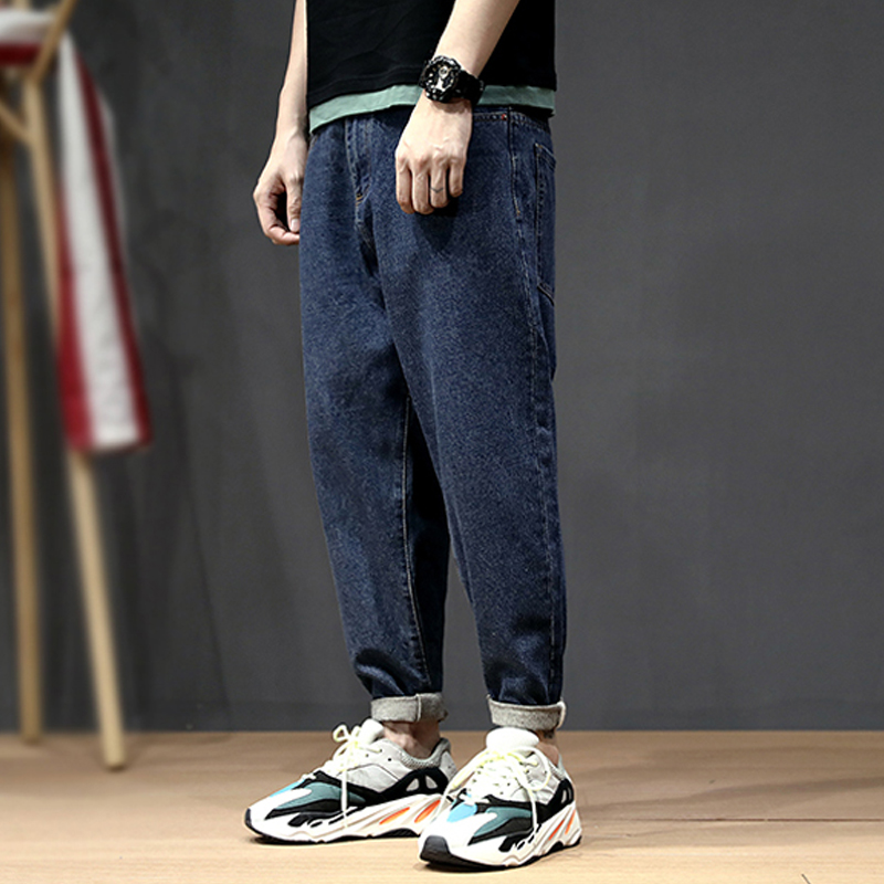 Korean Style Fashion Men Jeans Loose Elastic Harem Pants Tapered Trousers Retro Blue Streetwear Hip Hop Jeans Men Pencil Pants