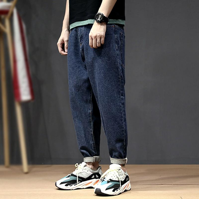 Korean Style Fashion Men Jeans Loose Elastic Harem Pants Tapered Trousers Retro Blue Streetwear Hip Hop Jeans Men Pencil Pants
