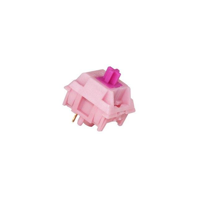 Gazzew Teclado mecánico Boba gum pink, silencioso, lineal, RGB, interruptor personalizado de 5 pines, 52g, 62g, 68g, fondo