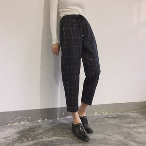 Image 5 - New Fashion Women Pants Pockets Plaid Womens Loose Casual Female High Waist Pant Females Korean Style Retro Chic Students Girls