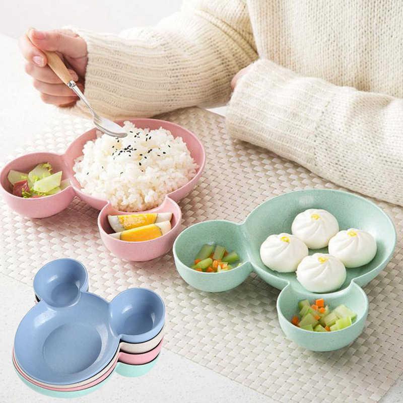 Criança dos desenhos animados mouse caixa de almoço mickey tigela pratos criança bebê crianças infantil arroz alimentação tigela plástico snack placa talheres