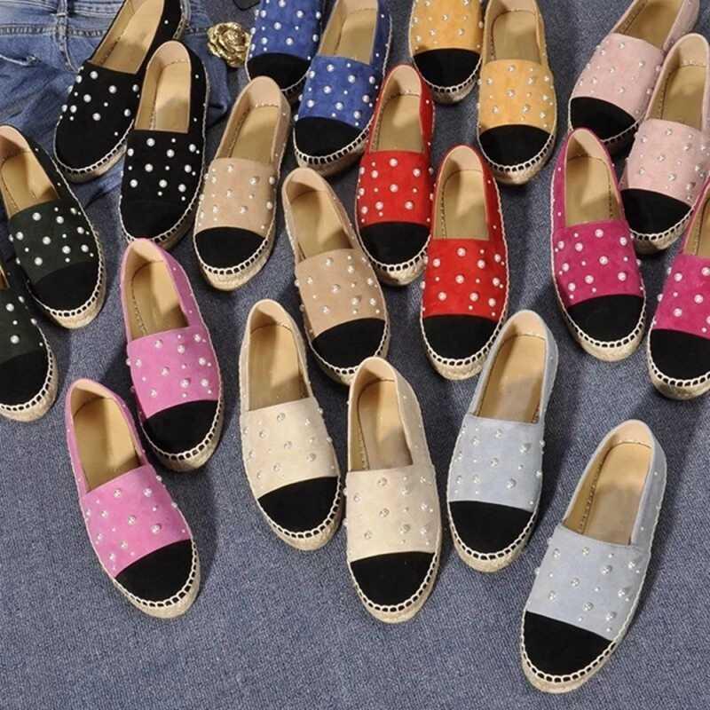 Lüks kadınlar Flats platformu loafer'lar bayanlar zarif inciler hakiki süet deri bayan Espadrilles kayma rahat sürüş ayakkabısı