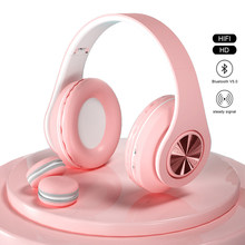Fone de ouvido 9d bluetooth 5.0, headset feminino com microfone e cartão tf, estéreo fone de ouvido