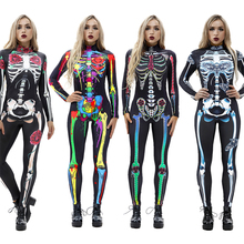 8 видов стилей маскарадные костюмы на Хэллоуин для женщин, для взрослых, страшный костюм скелета, с принтом, с длинным рукавом, карнавальные, вечерние, с изображением черепа-призрака