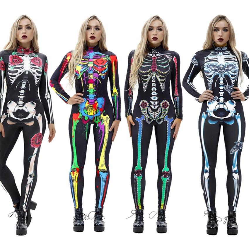8 tarzı cadılar bayramı Cosplay kostümleri kadınlar için yetişkin korkunç İskelet Bodysuit baskı uzun kollu karnaval parti hayalet kafatası elbise