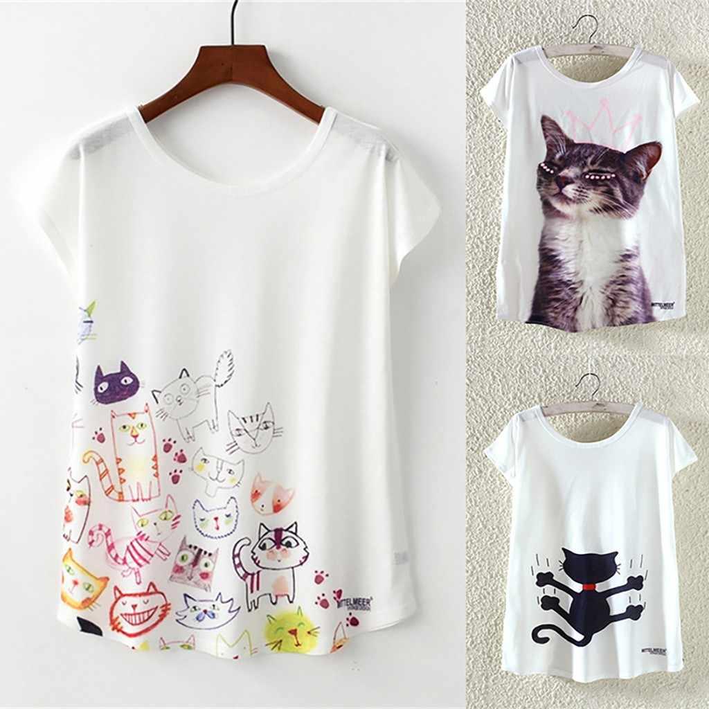 Забавная футболка с коротким рукавом и рисунком кота для женщин Harajuku модная