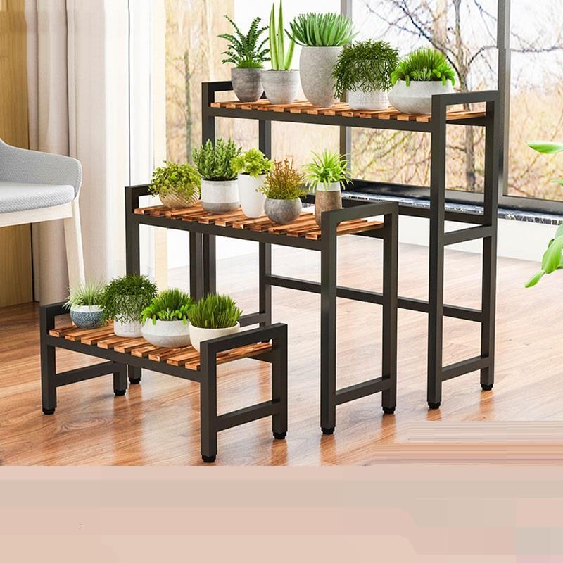Estante Para Rak Bunga Wood Etagere Pour Plante Soporte Plantas Interior Balcony Plant Rack Outdoor Shelf Flower Stand