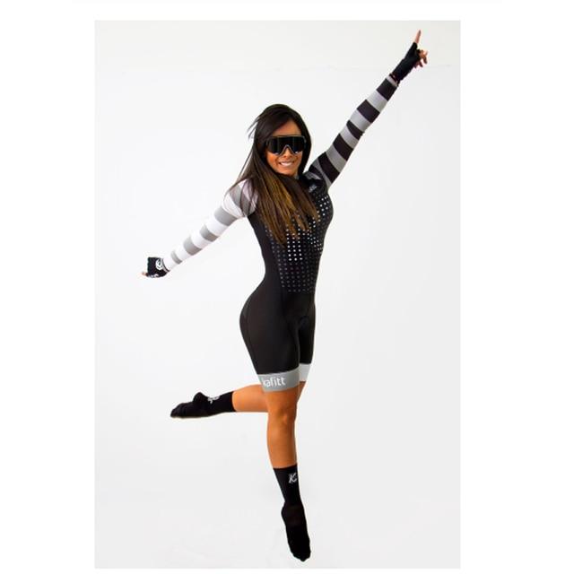 2020 mulheres profissionais triathlon manga longa conjunto skinsuit maillot ropa ciclismo aofly mtb bicicleta roupas macacão fino almofada esponja macaquinho ciclismo feminino manga longa roupas com frete gratis macaca 3