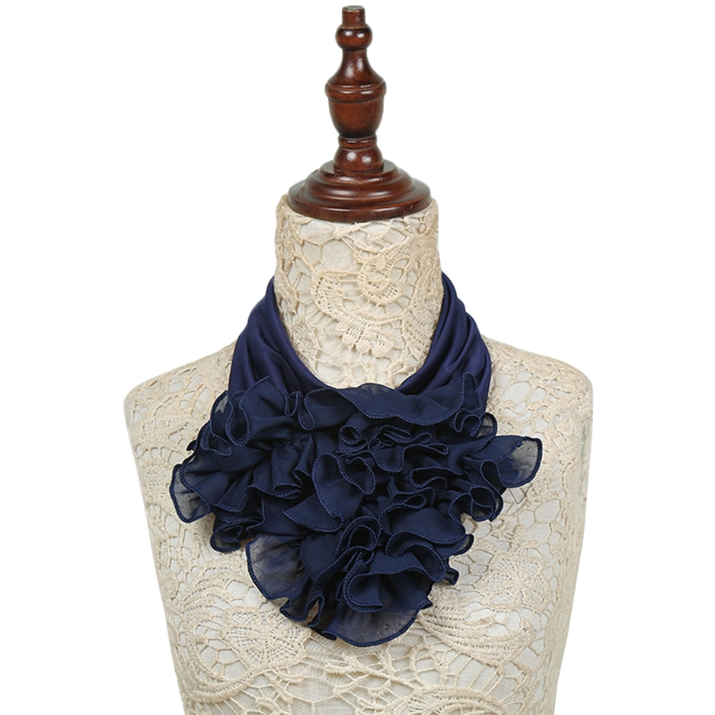 Womens Solid Color Floral Collar Scarf Luxury Neckerchief Ring Neck Scarves Soft 517D