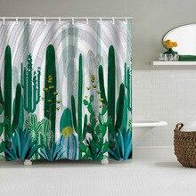 Green Shower Curtains Small Fresh Cactus Bath Curtain Polyester Waterproof Bathroom