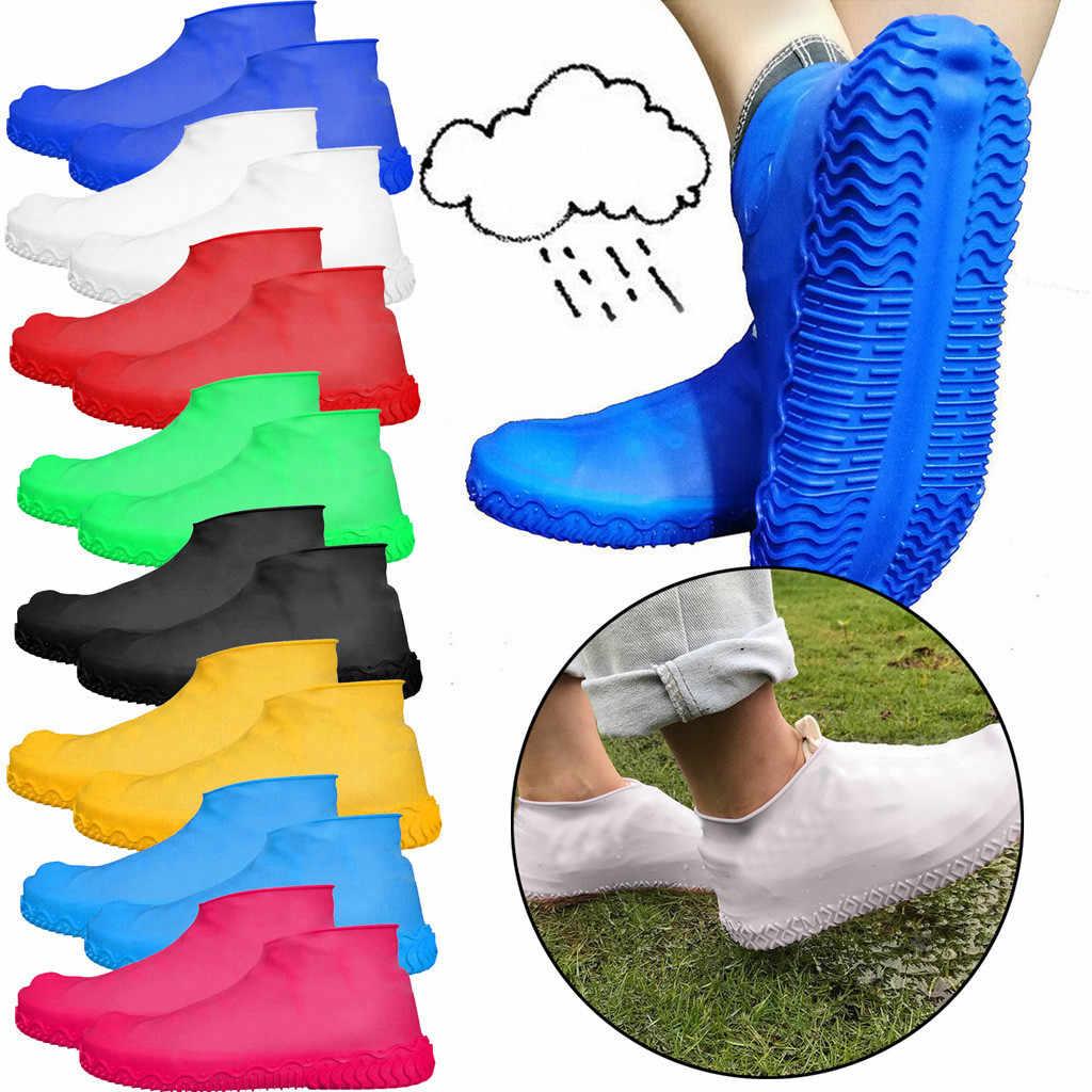 גשום יום נעלי מגפי כיסוי יוניסקס אנטי להחליק לשימוש חוזר לטקס נעל מכסה גברים נשים עמיד למים גשם אתחול רובוטי נעלי s/M/L