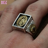 Wholesale fashion jewelry S925 sterling silver ring inlaid copper Silver Vintage Mens virgin Maria wide ring