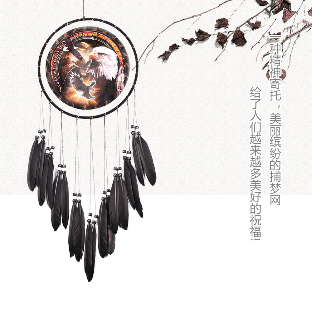 MS6836 New Products Eagle Oil Painting Black Feather Dreamcatcher Furniture Decorative Crafts Wall Decoration Wall Hangers