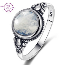 Men And Women 925 Sterling Silver Jewelry Ring Round 8MM Natural Moonstone Ring Bohemian Style Engagement Wedding Party Gift