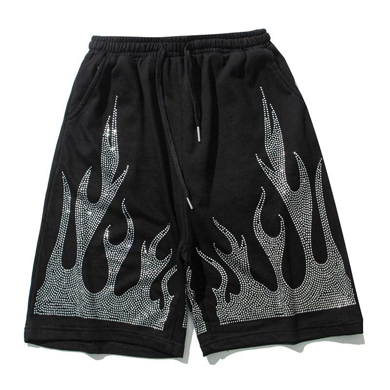 Aolamegs Men's Shorts Flame Graphic Crystal Diamond Men Casual Short High Street Punk Cozy Hip Hop Style Streetwear men clothing