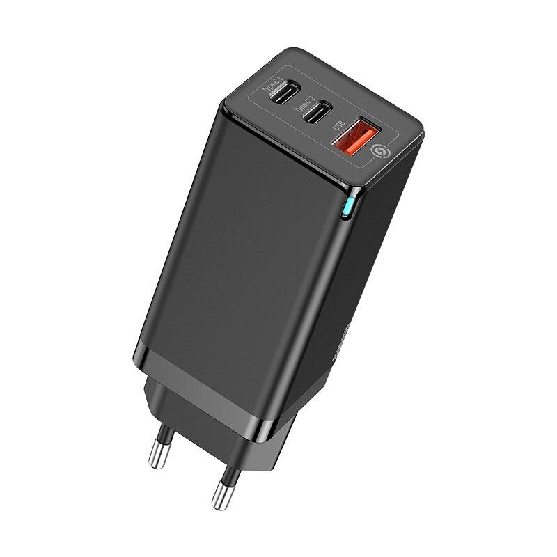 Быстрое зарядное устройство Baseus 65 Вт GaN с быстрой зарядкой 4,0 3,0 AFC SCP USB PD зарядное устройство для iPhone 11 Pro Macbook Pro Xiaomi samsung huawei - Тип штекера: Black