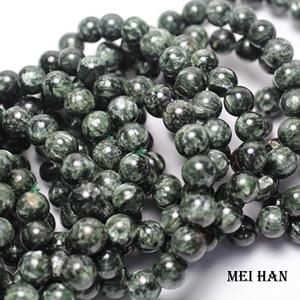 Image 2 - Natürliche A + russische seraphinite armband 8 8,8mm (1 armband/set) glatte runde stein großhandel perlen für schmuck DIY design