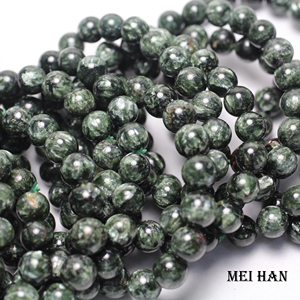 Image 2 - Natural A+ russian seraphinite bracelet 8 8.8mm (1 bracelet/set) smooth round stone wholesale beads for jewelry DIY design