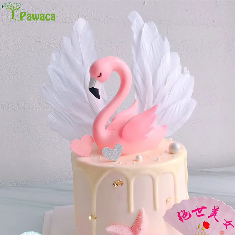 Incredible 1Pc Hot Pink Flamingo Flash Led Silicone Cake Topper Birthday Funny Birthday Cards Online Overcheapnameinfo