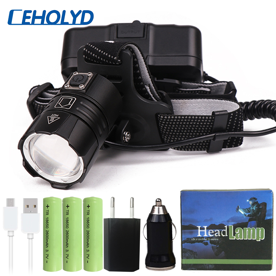 2019 Powerful XHP70 XHP50 Led Headlamp Headlight Zoom Head Lamp Flashlight Torch 18650 Battery USB Rechargeable Lantern