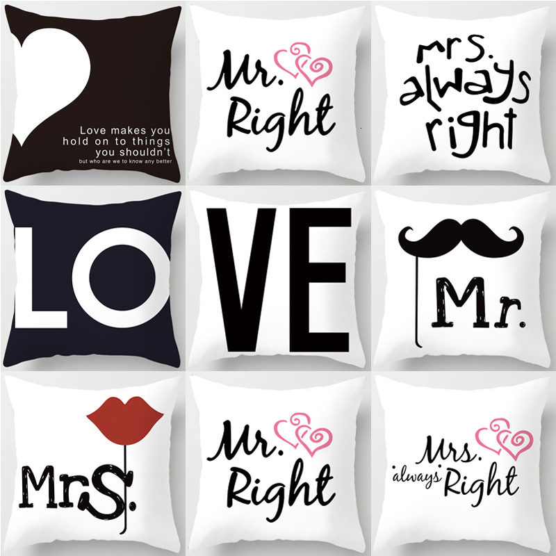 Love Mr Mrs Heart Couples Cushion Cover Polyester Square Pillowcases Wedding Decoration Home Decor Pillow Cover 45*45cm 40824