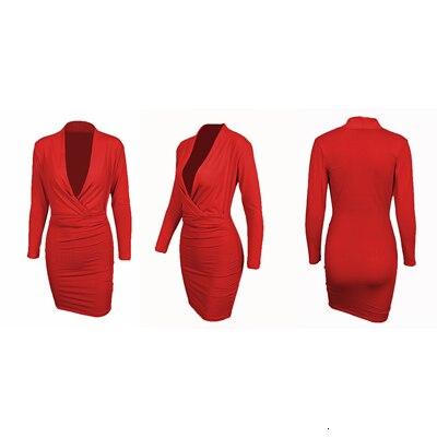 Deep V Neck Sexy Dress Women Long Sleeve Bodycon Elegant Midi Office Dress Autumn Winter Solid Warm Female Evening Party Dresses 9