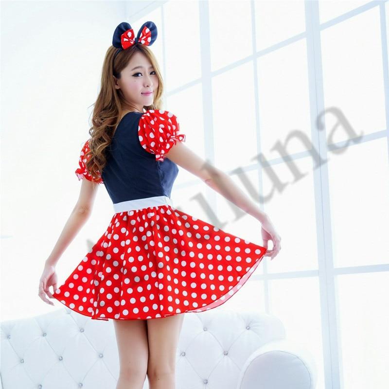 Halloween Girls Dress Minnie Mouse Women Dresses Party Costume Dance Leotard Mickey Cosplay Dots Dancewear For Girl C07601