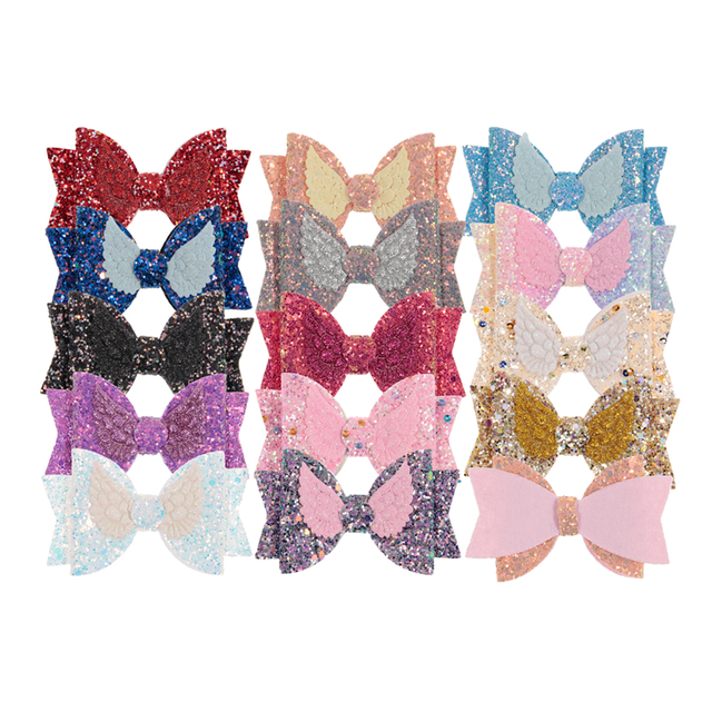 """Nishine 3.6"""" Double Sequin Wing Leather Bows for Baby Girls Headbands Boutique Hair Bows for Hairpins Clips Diy Hair Accessories"""