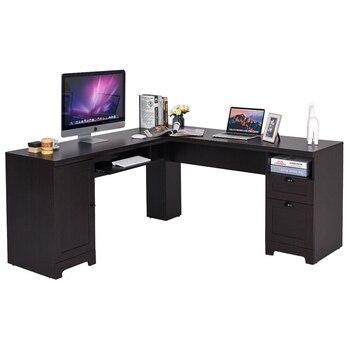 L Shaped Writing Study Workstation Computer Desk HW63111+|Laptop Desks|Furniture -
