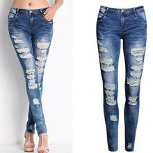 Hollow Out Women Ripped Jean Pants Bodycon Holes Sexy Low Waist Denim Femme Blusas Zipper Fly Stretch Skinny Pencil