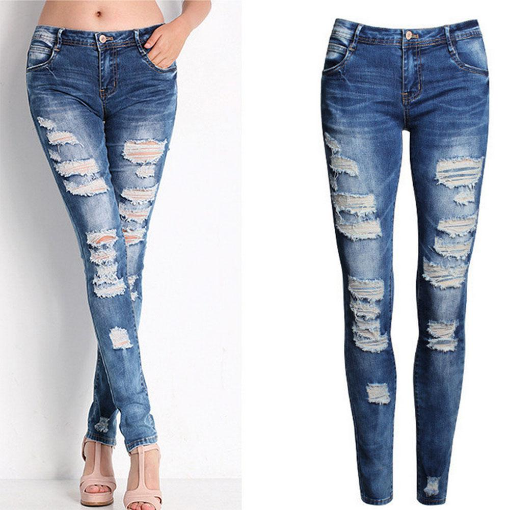 Hollow Out Women Ripped   Jean   Pants Bodycon Holes Sexy Low Waist Denim Pants Femme Blusas Zipper Fly Stretch Skinny Pencil Pants