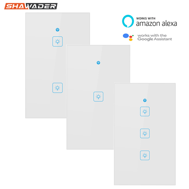 Wifi Smart Light Switch Touch Glass Panel  US Rectangle Wireless Electrical App Remote Voice Control work for Alexa Google Home