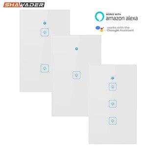 Image 1 - Wifi akıllı işık anahtarı dokunmatik cam Panel abd dikdörtgen kablosuz elektrik App uzaktan ses kontrol çalışması Alexa Google ev için