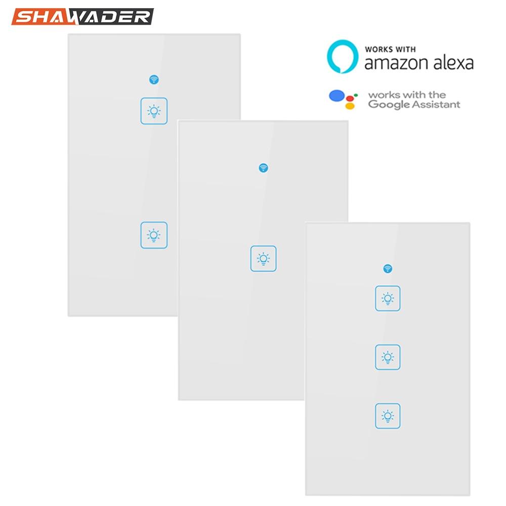 Wifi умный светильник, переключатель, сенсорная стеклянная панель, США, прямоугольник, беспроводное электрическое приложение, дистанционное управление голосом, работа для Alexa Google HomeВыключатели    АлиЭкспресс