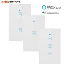 Wifi умный светильник, переключатель, сенсорная стеклянная панель, США, прямоугольник, беспроводное электрическое приложение, дистанционное управление голосом, работа для Alexa Google Home