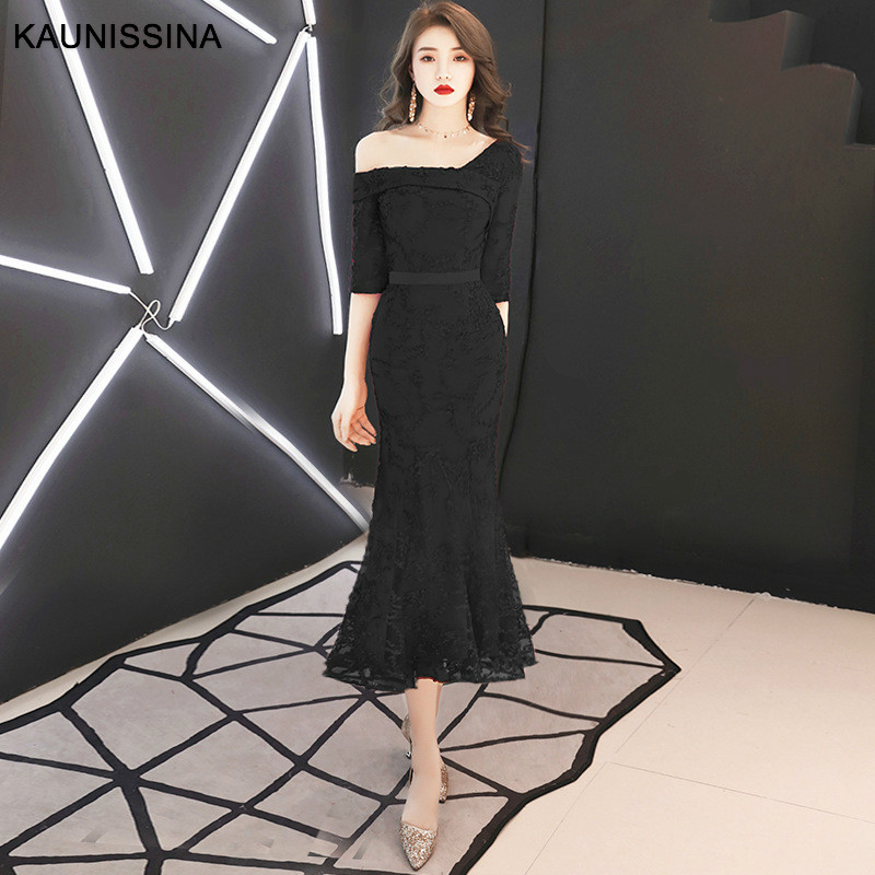 KAUNISSINA Elegant Cocktail Dresses Mermaid Party Gowns Flower Appliques Calf Length Sexy Fashion Homecoming Dress 10 Colors