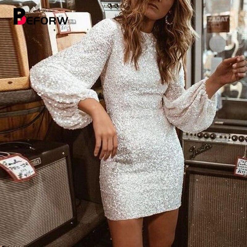BEFORW 2020 Women Sexy O Neck Bodycon Sequin Mini Dress Vintage   Lantern Sleeve Club Party Nightclub Mini Pencil Dress Vestido