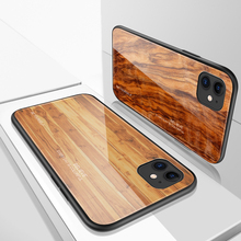 Luxury Wood Grain Phone Case For iPhone 11 Pro Max XS XR Tempered Glass Hard Cover Case for iPhone 7 Plus 6 6S 8 X Coque Shell ciciber dragon ball phone case for iphone 11 pro max xr x xs max tempered glass cover cases for iphone 7 8 6 6s plus funda coque