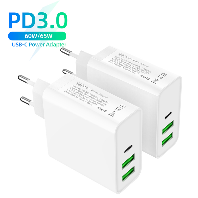 <font><b>60W</b></font>/65W <font><b>USB</b></font> Phone <font><b>Charger</b></font> 1Port PD3.0 QC3.0 <font><b>Charger</b></font> For MacBook Pro/Air iPad Pro 2port <font><b>USB</b></font> Power Adapte for S8/S10 iPhone 11pro image