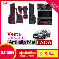 for Lada Vesta 2015 - 2018 Anti-Slip Rubber Cup Cushion Door Groove Mat 6Pcs BA3 I Accessories 2016 2017 Car Styling Stickers