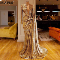 Shiny V neck Sexy Formal Evening Dresses For Wedding 2019 Latest Design Saudi Arabic Sequins Prom Party Dress Gown Robe De Soire