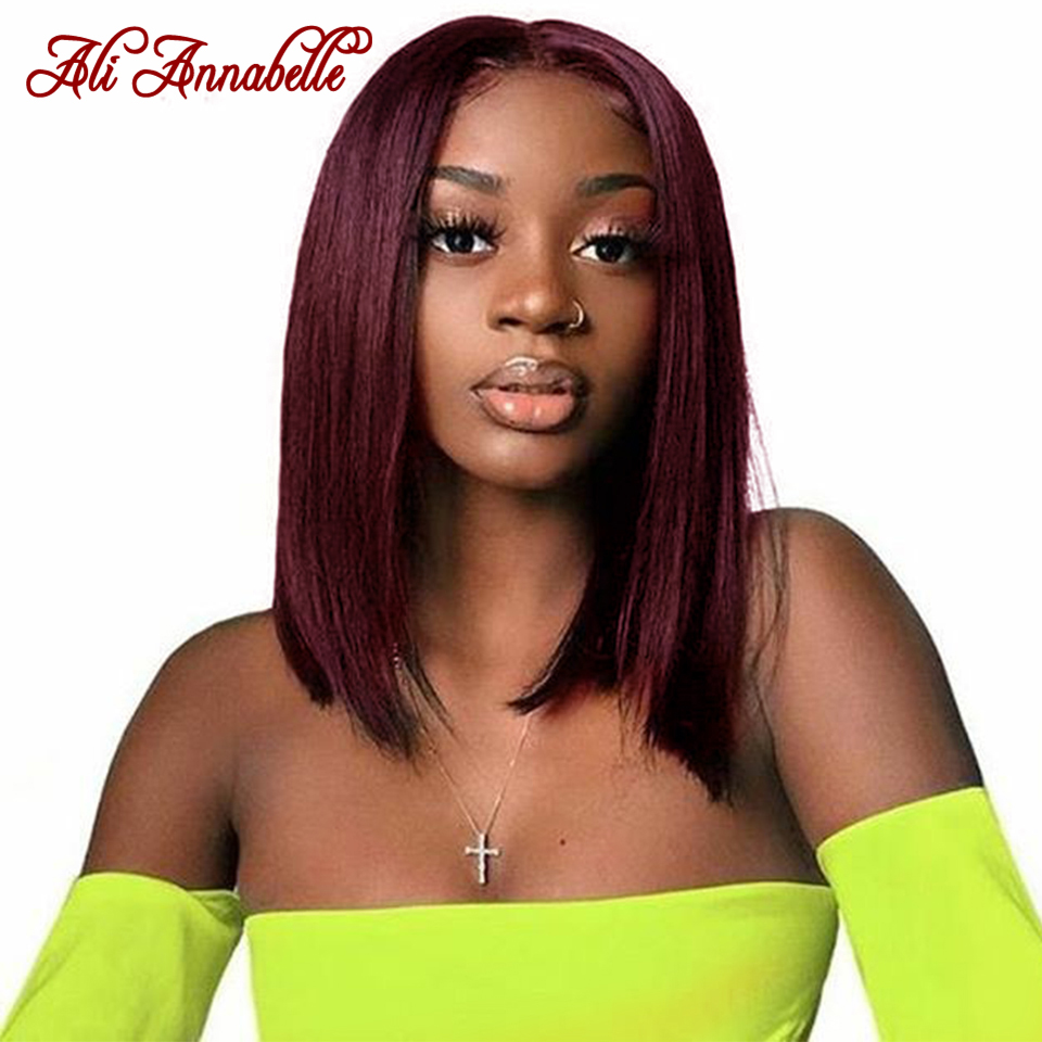 Lace Front Human Hair Wigs Brazilian Straight 13x4 Short Bob Wig Red 99J Burgundy Human Hair Lace Wigs Pre-Plucked Bleached Knot