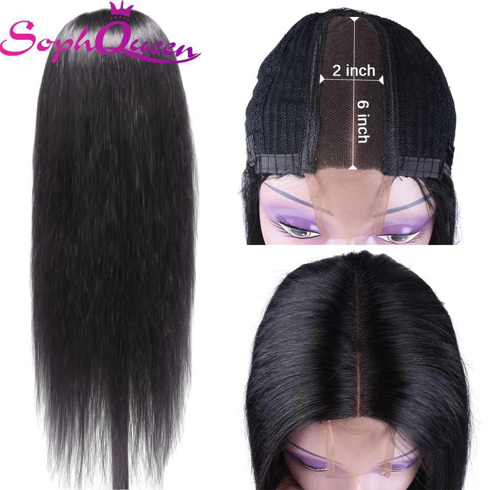 Soph Queen Hair Brazilian Straight 2*6 Lace Part Wig Human Hair Wigs Remy With Baby Hair Pre Plucked Natural Color