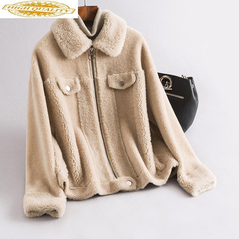 2020 Real Sheep Shearling Fur Coat Female 100% Wool Coats Winter Jacket Women Korean Short Jackets Chaqueta Mujer My4039