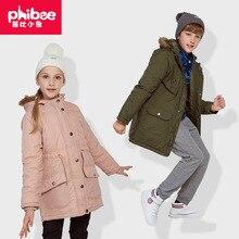 Cross-Border phibee Phibee Children's Cotton-padded Clothes Girls Outdoor Wind-Resistant Warm Jacket Mid-length Cardigan Jacket лыжный брючный костюм phibee phibee 2014