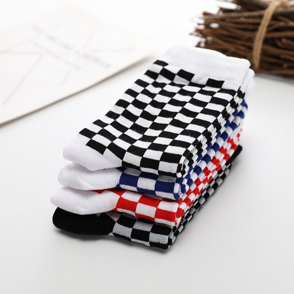 New Fashion Trends Men Socks Checkerboard Geometric Checkered Men Women Cotton Socks Black White Men's Big Size Crew Socks