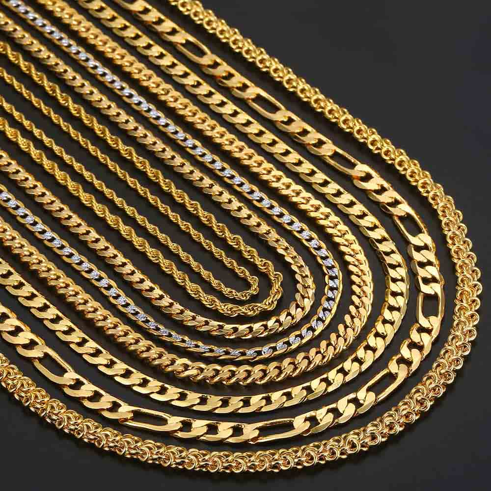 Gold Necklaces For Women Men Figaro Hammered Snake Curb Gold