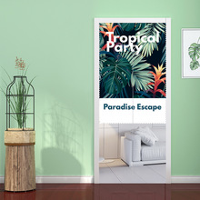 Tropical Plants Decorative Doorway Curtain,Polyester Fabric Curtain Porch Bathroom Door Tapestry Curtain,Room Divider Curtains